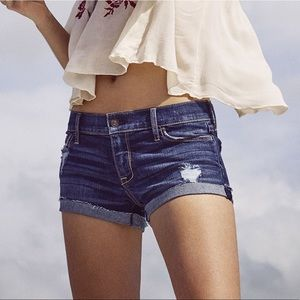 A&F Low Rise Denim Short Distressed Medium Wash